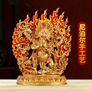 "10"" Tibetan Buddhism copper gilt Coloured Painting Mahakala Buddha statue"