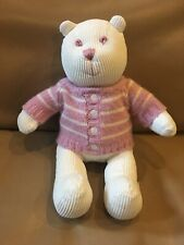 Baby Gap White Pink Corduroy Plush Bear 2002 ~ HTF Rare