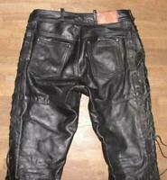 "Arizona Men's Lace-Up Leather Jeans / Biker Trousers IN Black Approx. W34 "" /"