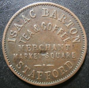 Farthing token - Barton tea dealer - Stafford central dent on reverse W.4770