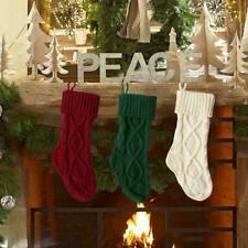 3x Christmas Knitted Stocking Hanging Crochet Stock Tree Ornament Holiday Decor