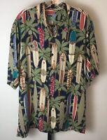 Reyn Spooner Surfboard Print Hawaiian Camp Shirt Mens L Aloha Surf Palm Trees