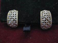 "14K Yellow Gold ""HA"" FILIGREE CUFF EARRINGS w/ 26 DIAMONDS & French Safety Posts"