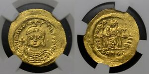 MAURICE TIBERIUS HAMMERED GOLD SOLIDUS, NGC MS 4/5