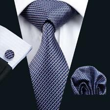 USA Classic Silk Mens Tie Plaids Checks Blue Wedding Necktie Hanky Cufflinks 660
