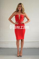 New womens ladies red strapless boobtube midi plunge mesh celeb bodycon dress