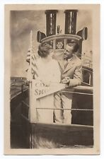 1920s Studio RPPC Postcard of Man & Woman on Catalina Special Boat CA