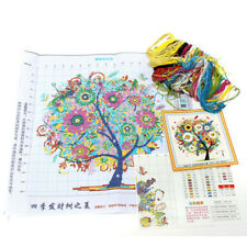 Home Decor Counted Cross Stitch Kit Embroidery Set Colorful Tree 14CT 45*45cm