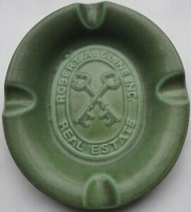 1947 ROOKWOOD POTTERY advertising ROBERT A. CLINE REAL ESTATE ASHTRAY