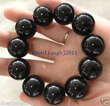 Chinese 100% Natural Black JADE Agate 20mm Bead Beads Bangle Elastic Bracelet