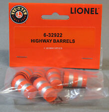 LIONEL HIGHWAY BARRELS (6) o gauge train construction roadway road work 6-32922
