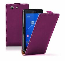 Ultra Slim MAGENTA Leather Case Cover Saver For Sony Xperia Z3 COMPACT experia