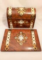 Burr Walnut Brass Mounted Stationery Box Matching Blotter Antique Mid 19th C