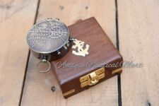 Antique Brass Vintage Pocket Compass With Box