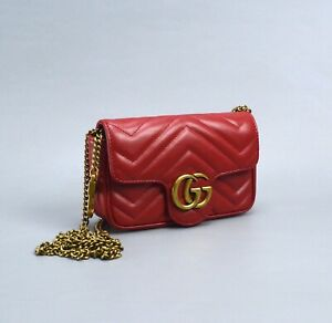 GUCCI Marmont Red Leather Super Mini Bag Made in Italy