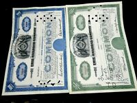 Erie Railroad Stock Certificates Set of 2 Blue and Green Old Railroad Stocks