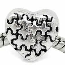 Autism Awareness Jigsaw Puzzle Heart Dangle Charm for European Bead Bracelets