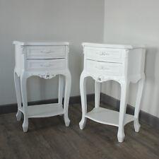 Par 2 Blanco Rosa mesillas de noche shabby vintage chic de muebles de dormitorio Muebles