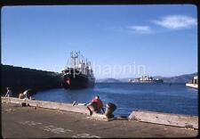Vintage 1959 Slide Photo Big Freighter Ship People Fishing Dock San Francisco CA