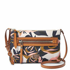 NEW Fossil ZB6591919 Dawson Fabric Crossbody Floral Print Canvas Handbag $98