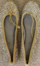 New The Limited Damen Ballet Flat Ballerina Gold yellow Glitter Shoes 8 M 37.5