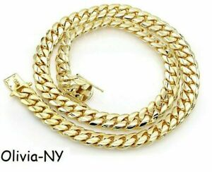 .925 Sterling Silver Solid Miami Cuban Curb Link Chain Necklace Yellow Gold 7mm