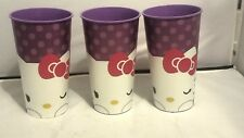 (3) REUSABLE PURPLE HELLO KITTY PARTY CUPS 32 OZ (2014) SANRIO (PRE-OWNED)