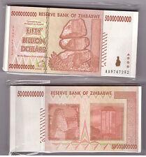 ZIMBABWE BUNDLE 100 X 50 BILLION BANKNOTE BUNDLE TRILLIONS PACK aUNC/UNC