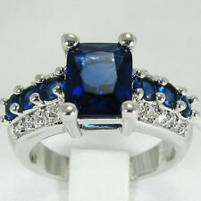 14K White Gold Filled Sapphire RING SIZE 8 ****Ships FREE to USA**** #R224