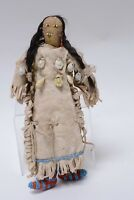 Antique Sioux Indian Hide Doll with bead shell and hair - late 19th century