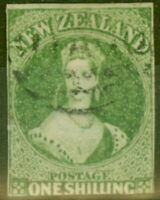 New Zealand 1864 1s Green SG100 Wmk NZ Good Used
