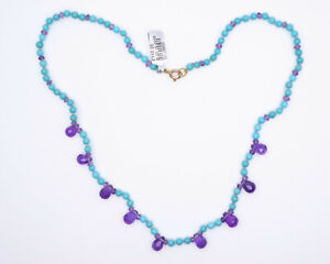 9ct Yellow Gold Turquoise & Amethyst Necklace