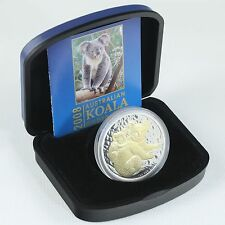 2008 $1 1oz Silver Koala Gold Gilded in Box & COA