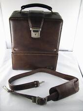 Vintage Camera Case Marsand USA Brown Blue Felt Lining 2 Compartment for Lens