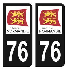 Autocollant Stickers plaque immatriculation Noir département 76 Seine-Maritime C