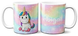 Personalised Cute Unicorn Magical Multi Colour Kids Coffee Mug Gift 11oz Ceramic