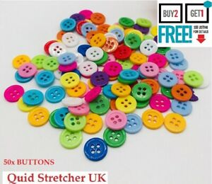 50x ACRYLIC ROUND 4 HOLE FLAT BUTTONS 12mm SHIRT CRAFT KIT REPLACEMENT SEWING UK