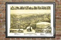 Old Map of Clarksburg, WV from 1898 - Vintage West Virginia Art, Historic Decor