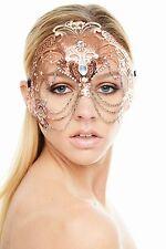 Elegant Rose Gold Venetian Laser Cut Masquerade Mask K2012RG Mardi Gras Prom