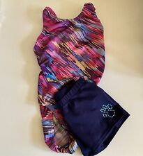2 Piece Lot -Gymnastics Leotard Pink Purple Multicolor and Navy blue Shorts Axs