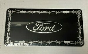 ~Black Barbed Wire Ford~ Embossed Metal License Plate ~Ford Car Truck Auto