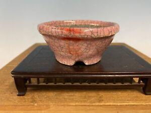 """Shohin Size Glazed Bonsai Tree Pot Made By Bunzan 3 5/8"""" Beautiful Pink"""