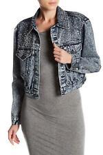 Alice + Olivia Chloe Studded Cropped Denim Jacket Size XS MSRP $595