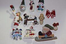 Vintage Christmas Brooch/Pin Lot of 10 Ceramic,Porcelain,Wooden,Metal Enamel #2