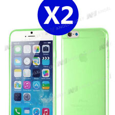 Two x Green iPhone 6 / 6s TPU Gel Soft Jelly Case Phone Cover for Apple