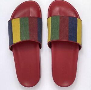 GUCCI Red Baiadera Slides Size IT 9 US 10 Canvas Striped Flip Flop Sandal Shoe