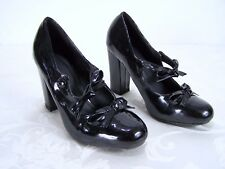 Black Wet Look Faux Leather High Heels Bows Womens Size Small 5/6