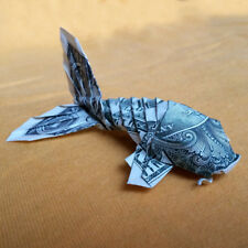Origami Sculpture KOI FISH 3D Gift Money Figurine Handmade of Real 1 Dollar Bill
