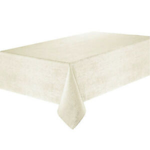 """Waterford Linens Tablecloth Lunar 70"""" x 104"""" Ivory Jacquard New"""