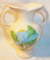 "PINK GLOSS HULL MAGNOLIA VASE 5 1/2"" TALL BLUE FLOWERS WITH GREEN LEAVES H-1-5"